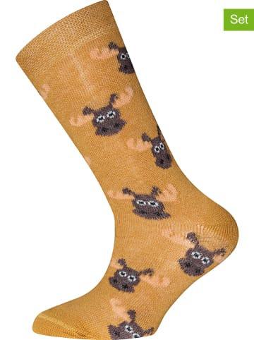 "Ewers 2-delige set: sokken ""Elk"" oranje"