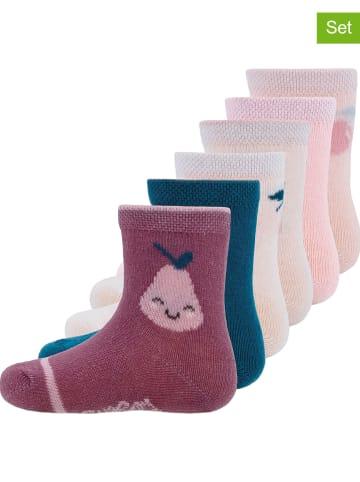 """Ewers 6-delige set: sokken """"Fruit"""" roze/donkerblauw"""
