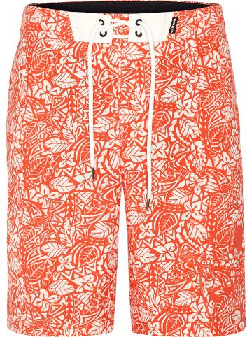 """Chiemsee Szorty kąpielowe """"Lazfy Left"""" w kolorze pomarańczowo-białym"""