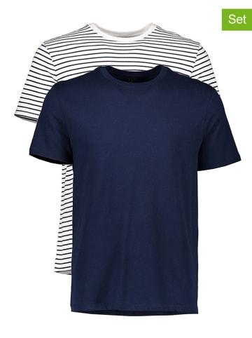 GAP Koszulki (2 szt.) w kolorze granatowym i białym