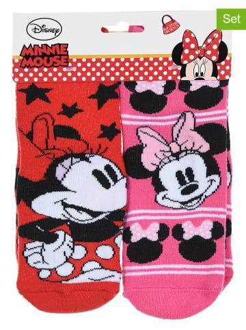 """Disney Minnie Mouse Skarpety (2 pary) """"Minnie Mouse"""" w kolorze różowo-czerwonym"""