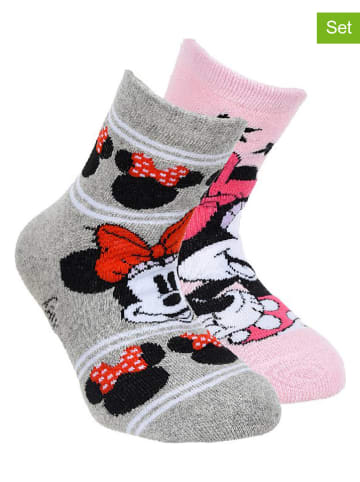 """Disney Minnie Mouse Skarpety (2 pary) """"Minnie Mouse"""" w kolorze jasnoróżowo-szarym"""