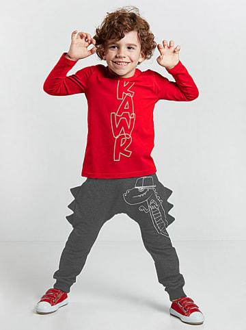 """Deno Kids 2-częściowy zestaw """"Dino Spikes"""" w kolorze czarno-czerwonym"""