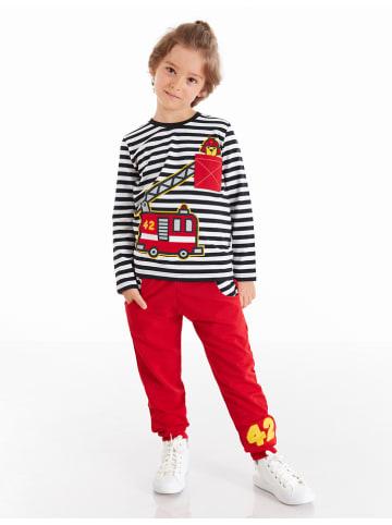 """Deno Kids 2-częściowy zestaw """"Fire-fighting"""" w kolorze czarno-czerwonym"""