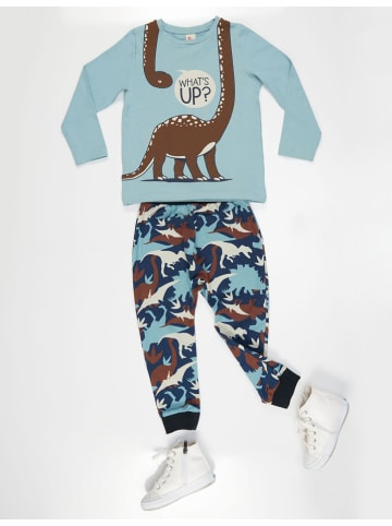"Deno Kids 2tlg. Outfit ""Dino"" in Hellblau/ Braun"