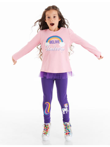 """Deno Kids 2tlg. Outfit """"Colorful"""" in Rosa/ Lila"""