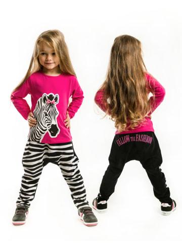 "Deno Kids 2tlg. Outfit ""Zebra Fashion"" in Pink/ Schwarz"