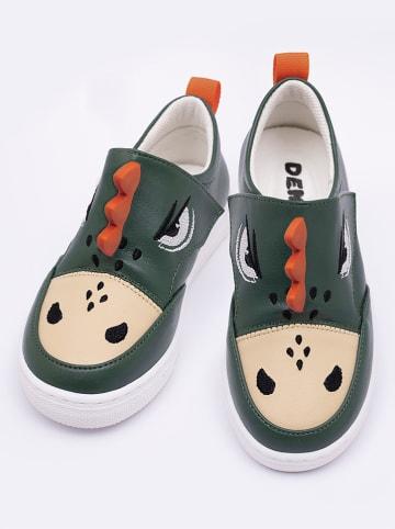 """Deno Kids Sneakers """"Crocodile"""" in Dunkelgrün"""