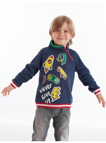 """Deno Kids Bluza """"Stickers"""" w kolorze granatowym"""