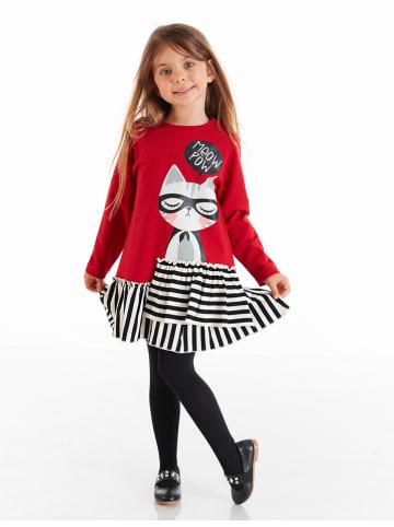 """Deno Kids Sukienka """"Meow"""" w kolorze czerwono-biało-czarnym"""