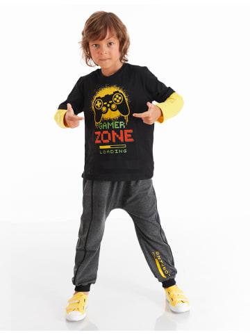 """Deno Kids 2-częściowy zestaw """"Loading"""" w kolorze żółto-szaro-czarnym"""