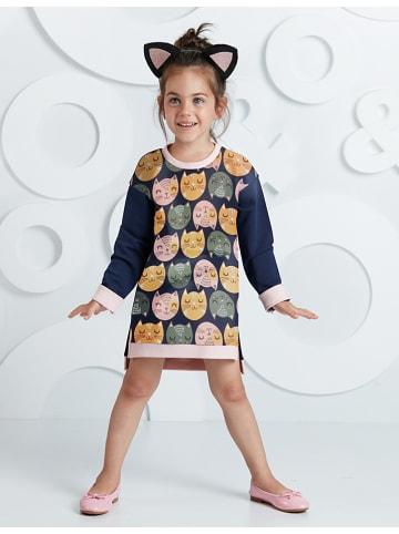 """Deno Kids Sukienka """"Cats"""" w kolorze granatowym ze wzorem"""
