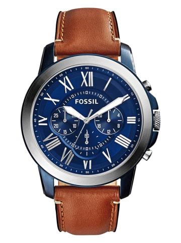 """Fossil Chronograaf """"Gant"""" zilverkleurig/bruin"""