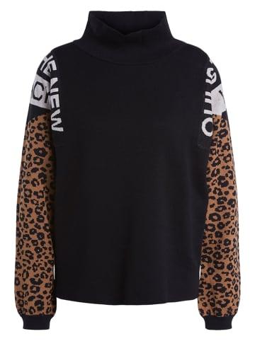 Oui Sweter w kolorze czarno-brązowym