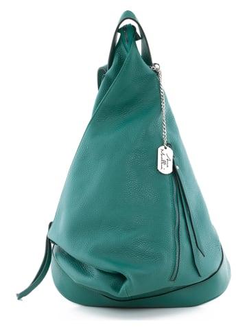 """Anna Morellini Skórzany plecak """"Aureliana"""" w kolorze zielonym - 42 x 55 x 16 cm"""