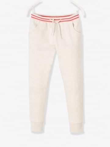 Vertbaudet Spodnie dresowe w kolorze kremowym