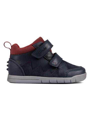 """Clarks Leder-Sneakers """"Rex Park"""" in Dunkelblau/ Rot"""
