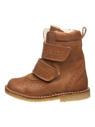 POM POM Leder-Winterboots in Camel