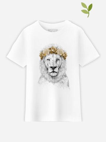 "WOOOP Koszulka ""Festival Lion Autumn"" w kolorze białym"