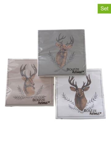 """Boltze 3-delige set: servetten """"Rudolf"""" bruin/grijs - 3x 20 stuks"""