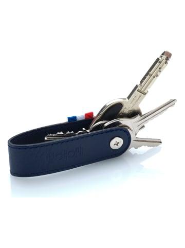 APOCOPE Leder-Schlüsselorganisator in Dunkelblau - (B)2,4 x (H)8,5 x (T)2 cm