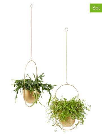 "Lifa Living 2-delige set: hangende bloembakken ""Tess"" goudkleurig - (H)30 cm"