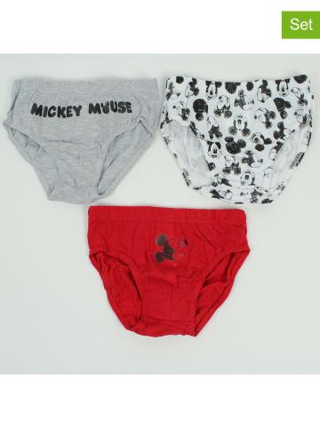 """Disney Mickey Mouse Slipki (3 pary) """"Mickey"""" w kolorze białym, szarym i czerwonym"""