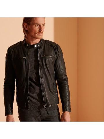 Superdry Skórzana kurtka w kolorze czarnym