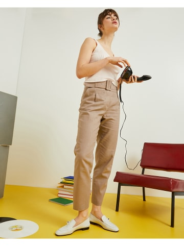 Rodier Lniane spodnie w kolorze beżowym