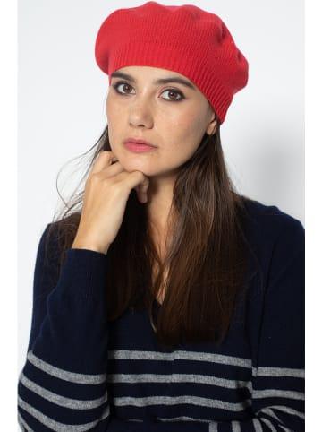"""Just Cashmere Kaszmirowy beret """"Paris"""" w kolorze czerwonym"""