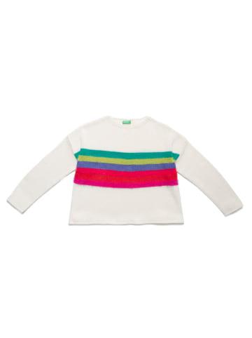 Benetton Sweter w kolorze białym ze wzorem
