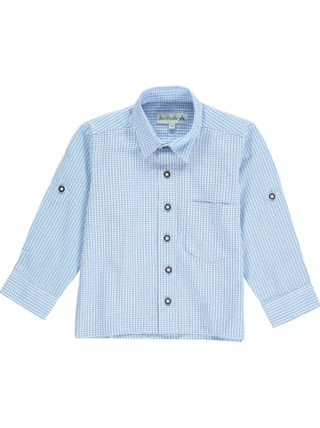 Isartrachten Trachtenhemd in Hellblau/ Weiß