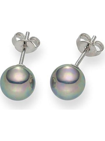 Pearls of London Kolczyki-wkrętki w kolorze srebrnoszarym z perłami
