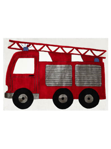 "Livone Geweven tapijt ""Brandweerauto"" rood/crème"