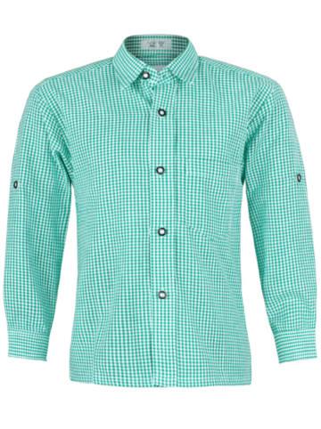 Isartrachten Trachtenhemd in Grün/ Weiß