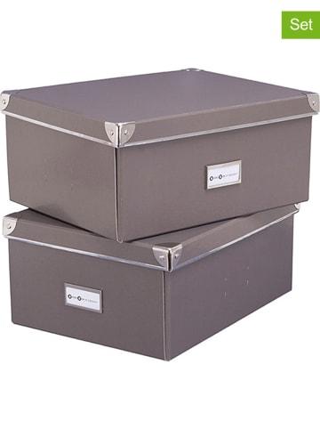 """STORE IT 2-delige set: opbergboxen """"Mika"""" grijs - (B)36 x (H)16 x (D)28 cm"""