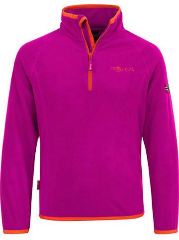 "Trollkids Fleecepullover ""Nordland"" in Pink/ Orange"