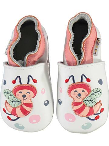 Lait et Miel Skórzane buty niemowlęce w kolorze biało-jasnoróżowym