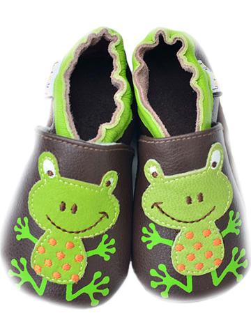 Lait et Miel Skórzane buty niemowlęce w kolorze brązowo-zielonym