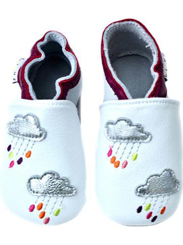 Lait et Miel Skórzane buty niemowlęce w kolorze białym ze wzorem