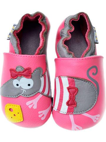 Lait et Miel Skórzane buty niemowlęce w kolorze różowo-szarym