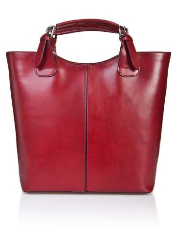 Massimo Castelli Skórzana torebka w kolorze czerwonym - 30 x 42 x 14 cm