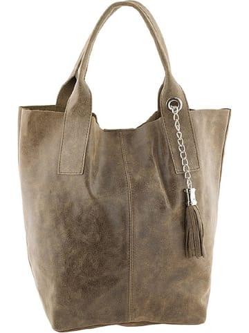 "ORE10 Leder-Shopper ""Laura"" in Taupe - (B)38 x (H)41 x (T)20 cm"