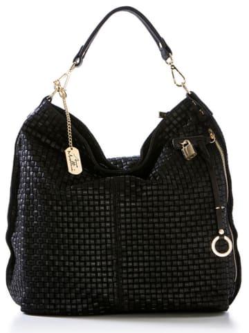 Anna Morellini Skórzany shopper bag w kolorze czarnym - 42 x 38 x 17 cm
