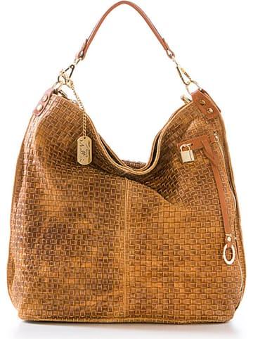 Anna Morellini Skórzany shopper bag w kolorze karmelowym - 42 x 38 x 17 cm