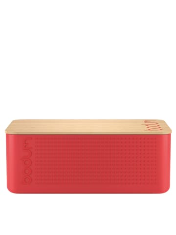 "Bodum Broodtrommel ""Bistro"" rood/bamboekleurig - (B)36,4 x (H)13,7 x (D)23,4 cm"
