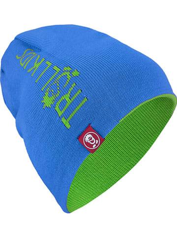 """Trollkids Dwustronna czapka beanie """"Troll"""" w kolorze błękitno-jasnozielonym"""