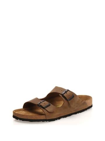 Comfortfusse Leren slippers zandkleurig