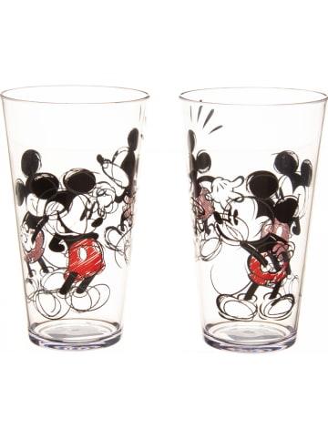 """Zak! designs Disney 2er-Set: Trinkflaschen """"Disney Classic Mickey"""" in Transparent/ Schwarz - 700 ml"""