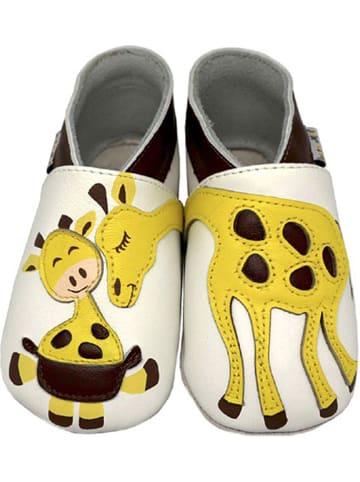 Lait et Miel Skórzane buty niemowlęce w kolorze biało-żółtym